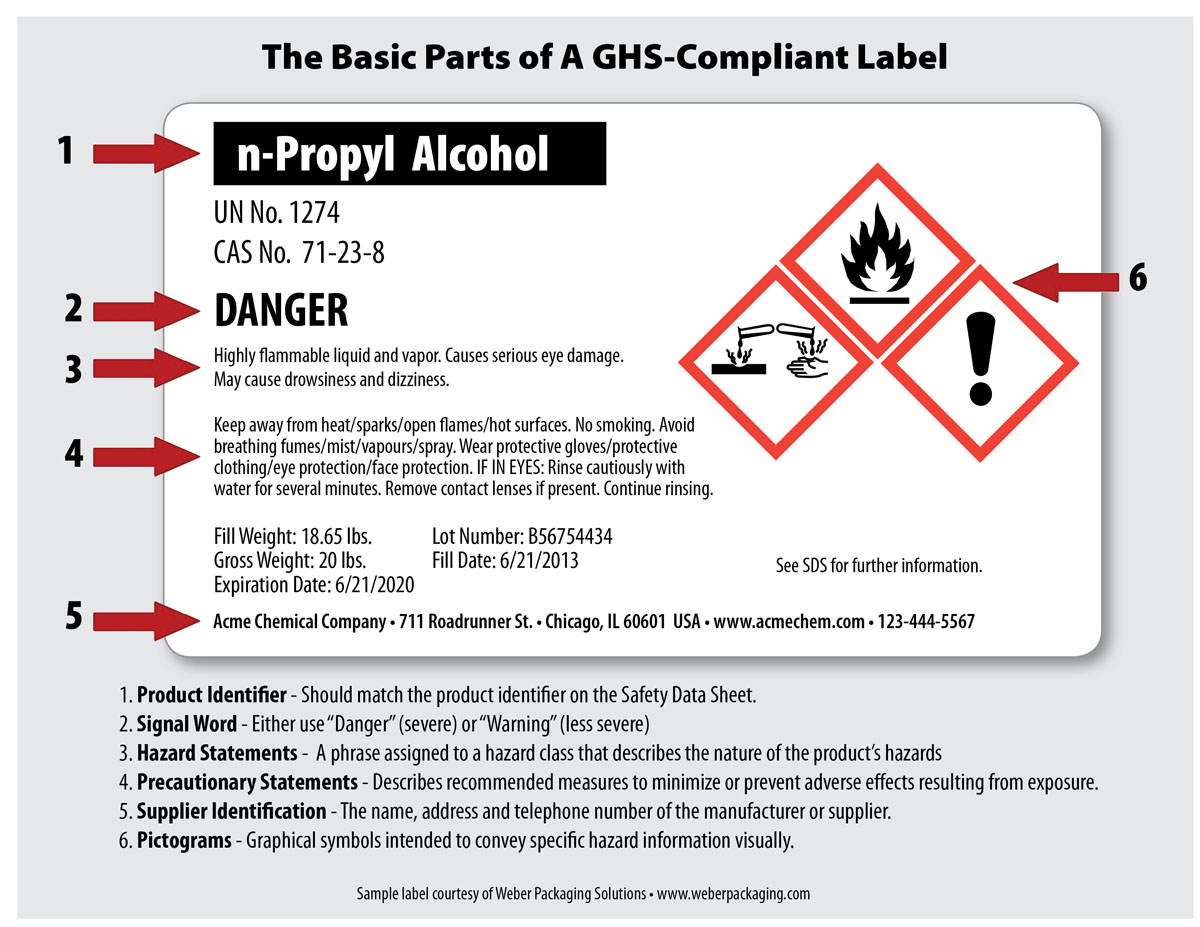Weber Epson Sample GHS label n-propyl
