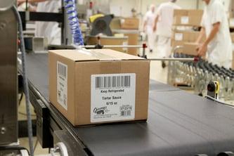 Labeled carton at Jimmys
